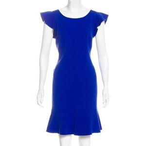 Emilio Pucci blue sheath dress w/flutter sleeves